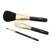 LIMITED Edition Ai (Love) Japanese KUMANO fude Natural Hair Luxury 3 pcs makeup brush set - Liquid Foundation - Powder - Lip - made in Japan