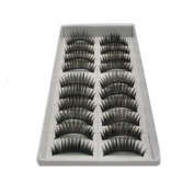 Hi-eseller 10 Pair Long Black False Eyelashes Eye Lashes Makeup