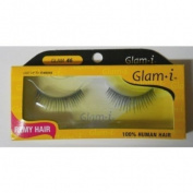 Glam-I 46 Full Strip Human Hair Eyelashes, Black, 10ml