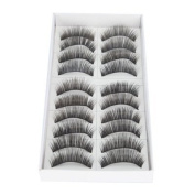 Crazy Cart New 10 Pair Long Black False Eyelashes Eye Lashes Makeup Sks017