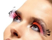 Feathered Pink False Eyelashes Halloween with Adhesive