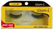 Glam-I 66 Full Strip Human Hair Eyelashes, Black, 10ml