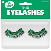 Amscan Party Ready Team Spirit Tinsel Eyelashes (2 Pack), Green, 14cm x 13cm
