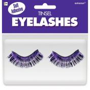 Amscan Party Ready Team Spirit Tinsel Eyelashes (2 Pack), Purple, 14cm x 13cm