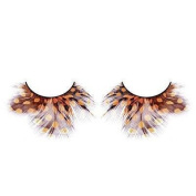Yellow & Brown Spotted Feather Eyelashes