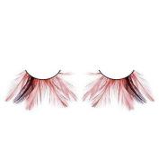 Long Red & Black Feather Eyelashes