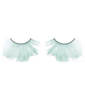 Long Pale Green Feather Eyelashes
