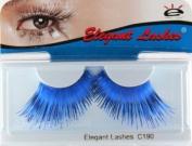 Elegant Lashes C190 Premium Colour False Eyelashes (Extra-Long Blue Colour Eyelashes with Blue Metallic Mix) Halloween Dance Rave Costume