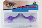 Elegant Lashes W389 Premium Jumbo Colour False Eyelashes (Lavender and Purple Mix) Halloween Dance Rave Costume