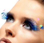 Blue with Neon Feather Plume Eyelashes