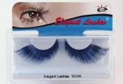Elegant Lashes W346 Premium Jumbo Colour False Eyelashes (Blue and Black Mix) Halloween Dance Rave Costume