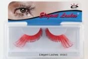 Elegant Lashes W563 Premium Red Jumbo Colour False Eyelashes Halloween Dance Rave Costume