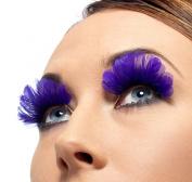 Smiffys SM36523 Purple Feather Eyelashes
