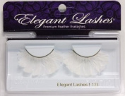 Elegant Lashes F131 Premium White Feather False Eyelashes Halloween Dance Rave Costume