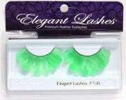 Elegant Lashes F136 Premium Lime Green Feather False Eyelashes Halloween Dance Rave Costume