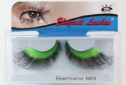Elegant Lashes W578 Premium Green and Black Jumbo Colour False Eyelashes Halloween Dance Rave Costume