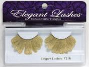 Elegant Lashes F216 Premium Gold Feather False Eyelashes Halloween Dance Rave Costume