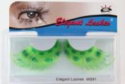 Elegant Lashes W591 Premium Colour False Eyelashes (Green Leopard) Halloween Dance Rave Costume