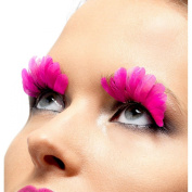Neon Pink Feather Eyelashes
