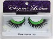 Elegant Lashes F159 Premium Green Black and White Feather False Eyelashes Halloween Dance Rave Costume
