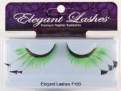 Elegant Lashes F160 Premium Green and Black Feather False Eyelashes Halloween Dance Rave Costume