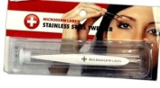 Bioswiss Microderm Labs Stainless Steel Slanted Pointed Flat Tips Tweezer & Case