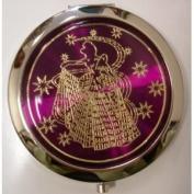 Purse Handbag Double Compact Cosmetic Mirror - Girl - Dark Purple