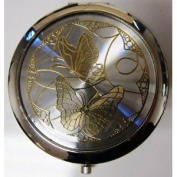 Purse Handbag Double Compact Cosmetic Mirror - Two Butterflies - Silver