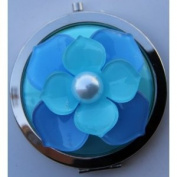Purse Handbag Double Compact Cosmetic Mirror - 3D (L) Aqua Flower
