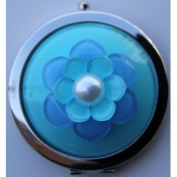 Purse Handbag Double Compact Cosmetic Mirror - 3D (S) Aqua Flower
