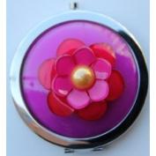 Purse Handbag Double Compact Cosmetic Mirror - 3D (S) Fuschia Flower