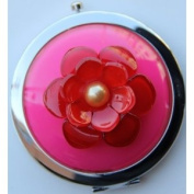 Purse Handbag Double Compact Cosmetic Mirror - 3D (S) HOT PINK Flower