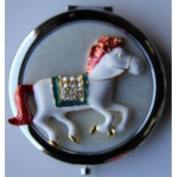 Purse Handbag Double Compact Cosmetic Mirror - Jewelled Horse
