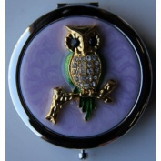Purse Handbag Double Compact Cosmetic Mirror - Jewelled Owl