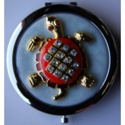 Purse Handbag Double Compact Cosmetic Mirror - Jewelled Turtle