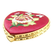Embroidered Floral Decor Red Heart Shaped Compact Mirror