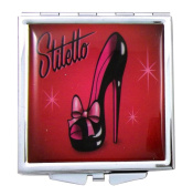 Fluff Black with Red Ribbon Stiletto Mini Square Compact Mirror
