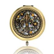 Fluer De Lis Brass Mirror Compact Model No. M-121