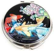 Silver J Hand mirror with mother of pearl, compact type, handmade oriental gift, carps