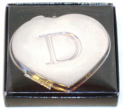 "Valentines Personal Heart Compact Makeup Mirror ""D"""