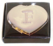 "Valentines Personal Heart Compact Makeup Mirror ""F"""