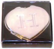 "Valentines Personal Heart Compact Makeup Mirror ""H"""