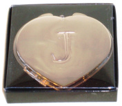 "Valentines Personal Heart Compact Makeup Mirror ""J"""