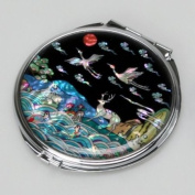 Mother of Pearl Animal Design Compact Cosmetic Makeup Metal Mirror with 10 Creatures of Longevity Design