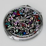 Mother of Pearl Art Deco Black Round Double Compact Handbag Purse Makeup Cosmetic Pocket Hand Mirror with Arabesque Design