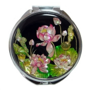 Mother of Pearl Pink Lotus Flower Design Double Compact Cosmetic Makeup Hand Mirror