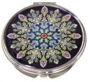 Silver J Hand compact mirror, handmade mother of pearl gifts, black feather