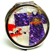 Silver J Handbag compact mirror, portable cosmetic type mirror, handmade mother of pearl gift, oriental King's gown