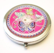 Butterfly Fest Fuchsia Make-up Round Compact Mirror