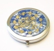 Flower & Butterfly on Blue Make-up Round Compact Mirror